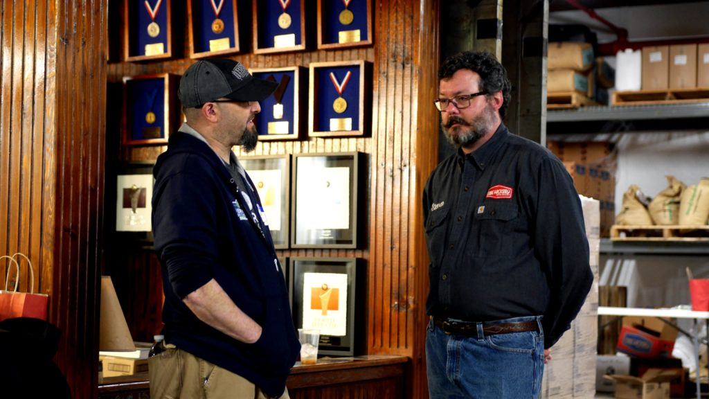 Steven Lyerly Talks with a fellow Beer Judge