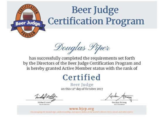 Certified BJCP Beer Judge