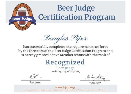 BJCP Recognized Beer Judge