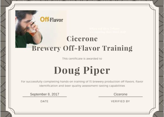 Cicerone Brewery Off-Flavors Training